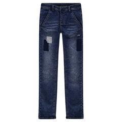 Junior - Jeans effet used et crinkle avec patchs