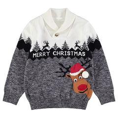 Pull de Noël en tricot avec renne et frise en jacquard