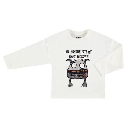 Tee-shirt HALLOWEEN manches longues en jersey avec monstre printé
