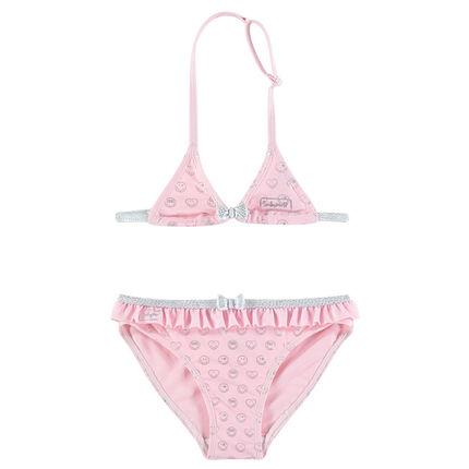 Maillot de bain 2 pièces rose avec Smiley printé all-over