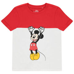 T-shirt manches courtes bicolore print Mickey Disney