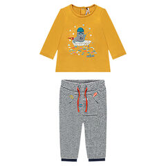 Ensemble tee-shirt manches longue avec morse brodé et pantalon en molleton twisté