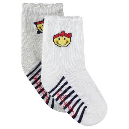 Lot de 2 paires de chaussettes avec rayures et motif Smiley en jacquard