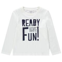 T-shirt manches longues en coton bio avec message printé