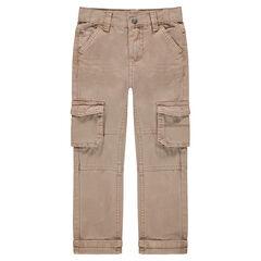 Pantalon en coton surteint avec larges poches à rabat