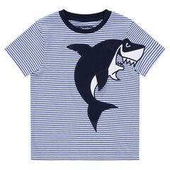 Tee-shirt manches courtes en jerey avec requin brodé