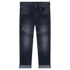 Jeans coupe slim effet used avec jeu de surpiqûres