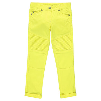 Pantalon skinny en twill uni avec surpiqûres