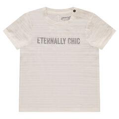 Tee-shirt manches courtes effet rayé avec message printé sur le devant