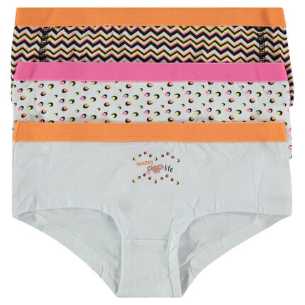 Junior - Lot de 3 shorties imprimé et print fantaisie