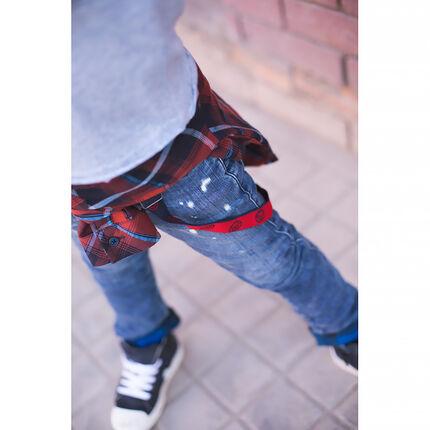Jeans effet used doublé flanelle à carreaux avec bretelles amovibles