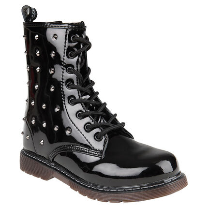 "Bottines noires vernies avec rivets style ""Doc Martens"""