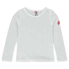 Tee-shirt manches longues en jersey dévoré brodé