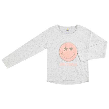 T-shirt manches longues en coton neps avec Smiley en sherpa