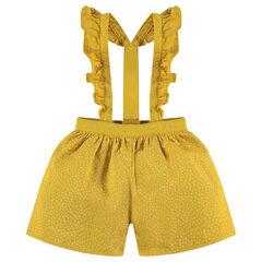 Jupe short en coton imprimé avec bretelles volantées