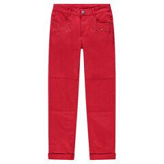 Junior - Pantalon coupe slim en twill rouge