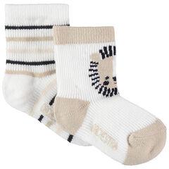 Lot de 2 paires de chaussettes à rayures / motif animal