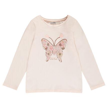 Tee-shirt manches longues en jersey avec papillon en sequins