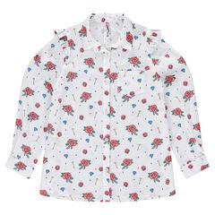 Junior - Chemise manches longues avec motifs fantaisie all-over