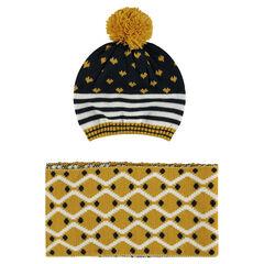 Ensemble bonnet et écharpe en tricot imprimé fantaisie