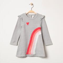 Robe manches longues en tricot avec arc-en-ciel jacquard