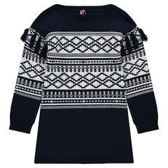 Junior - Robe manches longues en tricot lourd avec jacquard et pompons