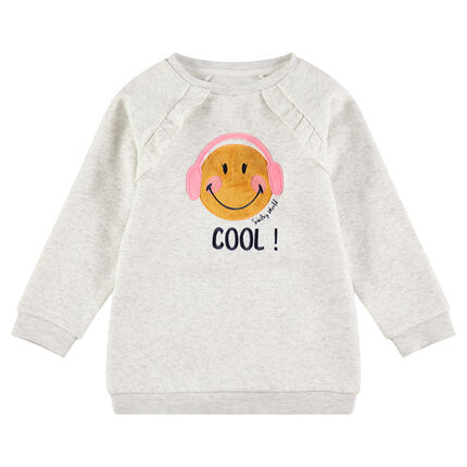 Sweat en molleton chiné avec patch Smiley en sherpa