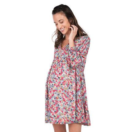 Robe de grossesse manches longues avec imprimé fleurs