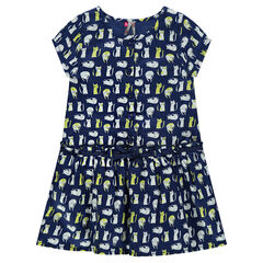 Robe manches courtes avec chats printés all-over