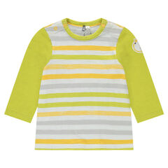 Tee-shirt manches longues en jersey rayé avec patch lion