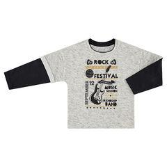 Tee-shirt manches longues effet 2 en 1 avec textes et guitare printés