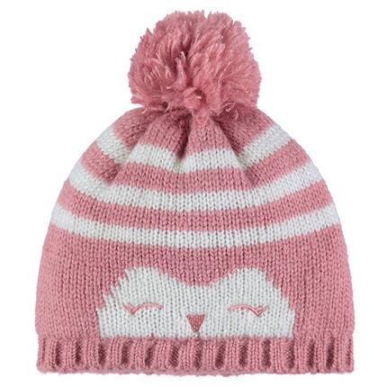 Bonnet en tricot rayé avec pompon et print fantaisie