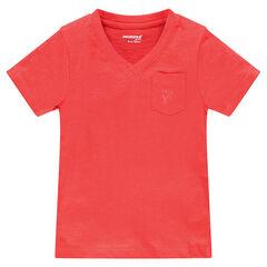 Tee-shirt manches courtes en slub avec poche