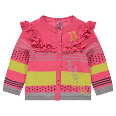 Gilet en tricot avec rayures contrastées et volants