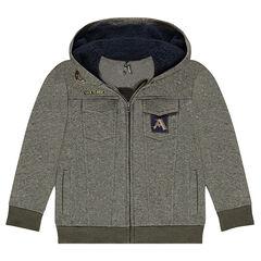 Junior - Gilet à capuche en molleton avec capuche doublée sherpa