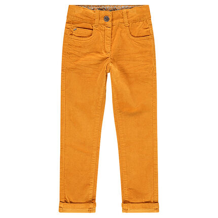 Pantalon en velours uni effet crinkle