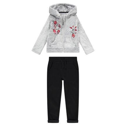 Jogging bi-matière avec veste en sherpa à capuche et fleurs brodées