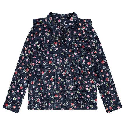 Junior - Chemise en coton fantaisie à fleurs all-over et volants