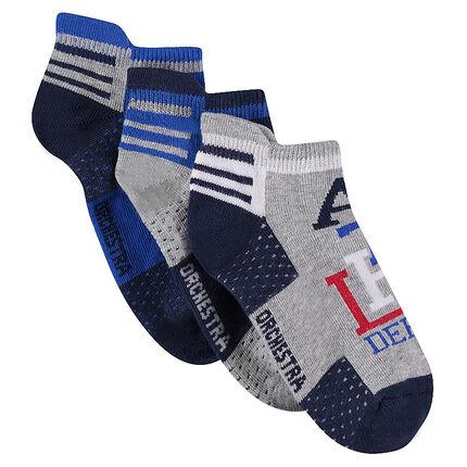 Lot de 3 paires de chaussettes de sport basses avec motifs en jacquard