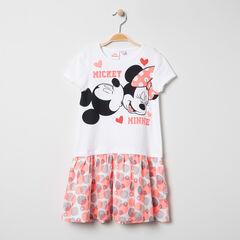 Robe manches courtes print Mickey et Minnie à imprimés fantaisie