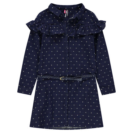 Junior - Robe manches longues à motif all-over et volant