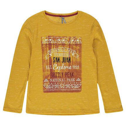 Tee-shirt manches longues en maille côtelée avec print fantaisie sur le devant