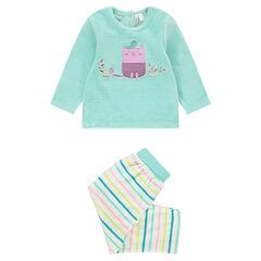 7dbfd0130ba6a Pyjama en velours 2 pièces avec hibou brodé et pantalon rayé