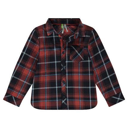 Chemise manches longues à grands carreaux avec poche