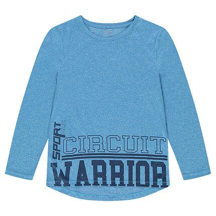 Tee-shirt manches longues bleu chiné avec inscriptions printées