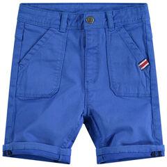 Bermuda en twill bleu à poches
