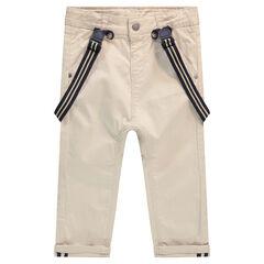 Pantalon en coton avec bretelles élastiquées amovibles