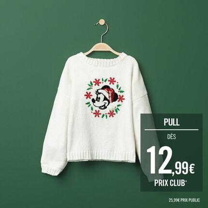Pull en tricot uni avec Minnie esprit Noël Disney