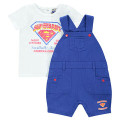 Ensemble tee-shirt printé et salopette short SUPERBABY
