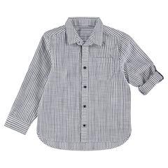Chemise manches longues à rayures et poche plaquée